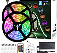 economico -ZDM® 2x5m Set luci Strisce luminose RGB 300 LED SMD5050 10mm 1 telecomando da 24Keys Adattatore 12V4A 1 set Colori primari Impermeabile Controllo APP Nuovo design 12 V 110-240 V / Auto-adesivo
