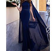 abordables -Trompette / Sirène Elégant Fiançailles robe ceremonie Robe Bateau Sans Manches Longueur Sol Mousseline de soie avec Lisse Ceinture / Ruban 2021