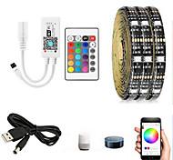 abordables -2m 3m 5m WiFi Intelligent Soft Strip Light Bar App Télécommande TV Backlight Bar 5050 SMD LED avec contrôleur IR 24 touches et ligne de conversion USB vers DC