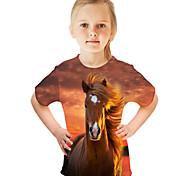 abordables -Enfants Fille T-shirt Tee-shirts Manches Courtes Papillon Chat Cheval Bloc de Couleur 3D Animal Imprimé Enfants Hauts basique Chic de Rue Bleu Clair Bleu marine Blanche