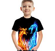 abordables -Enfants Garçon T-shirt Tee-shirts Manches Courtes Dragon Imprimé en 3D Graphique Flamme Casual Enfants Pâques Hauts Actif Chic de Rue Arc-en-ciel
