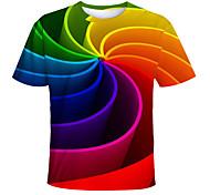 abordables -Enfants Bébé Garçon T-shirt Tee-shirts Manches Courtes Imprimé Bloc de Couleur Géométrique Imprimé Enfants Hauts Actif basique violet foncé Bleu Clair Vert Claire