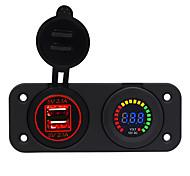 economico -Caricabatterie per auto 5v / console centrale 4.2a con apertura dual usb rosso / blu / verde 12v voltmetro schermo / ip65