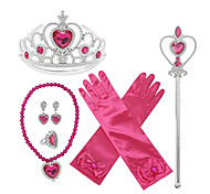 abordables -Princesse Elsa Reine des Neiges Gants Collier Tenue Fille Cosplay de Film Halloween Fushia 1 Bague Gants Couronnes Le Jour des enfants Mascarade Strass Tissu Plastique / Colliers décoratif / Baguette
