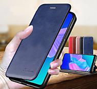 economico -telefono Custodia Per Huawei Integrale Custodia in pelle Porta carte di credito Huawei P20 lite Huawei P30 Pro Huawei P Smart 2019 A portafoglio Porta-carte di credito Con supporto Tinta unita pelle