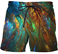 abordables -Homme Sportif Exagéré Grandes Tailles Slim Joggings Short Pantalon 3D Formes Géométriques 3D Print Court Imprimé Arc-en-ciel