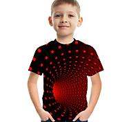 abordables -Enfants Garçon T-shirt Tee-shirts Manches Courtes à imprimé arc-en-ciel Bloc de Couleur 3D Imprimé Enfants Hauts basique Chic de Rue Jaune Clair violet foncé Rouge