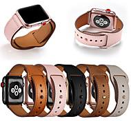 abordables -1 pièces Bracelet de Montre  pour Apple  iWatch Bande de sport Vrai Cuir Sangle de Poignet pour Apple Watch Series SE / 6/5/4/3/2/1