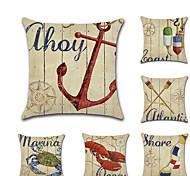 economico -set di 6 federe per cuscino in lino, cuscino quadrato classico tradizionale per il tempo libero mediterraneo nautico animale