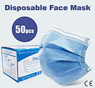 abordables -50 pcs Masque Respirable Jetable Protectif 3 couches En stock Etoffe non tissé Non-tissé Tissu non-tissé Meltblown CE Certification Imperméable Porter Haute Qualité Bleu