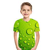 abordables -Enfants Garçon T-shirt Tee-shirts Manches Courtes Bloc de Couleur Géométrique 3D Enfants Le Jour des enfants Hauts Actif Chic de Rue Bleu Violet Rouge