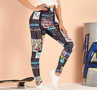 abordables -Femme Actif basique Joggings Pantalon Imprimé Avec motifs Noir