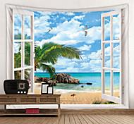 abordables -fenêtre paysage mur tapisserie art décor couverture rideau pique-nique nappe suspendu maison chambre salon dortoir décoration polyester mer océan plage palm