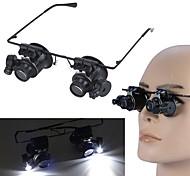 abordables -20X LED loupe lunettes loupe lunettes avec des outils de réparation de montre de bijoux de lumière LED