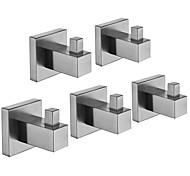 abordables -patère nouvelle conception / créative contemporaine / moderne en acier inoxydable / acier à faible teneur en carbone / métal 5pcs - salle de bain murale