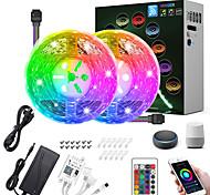 abordables -ZDM® 2x5M Bande lumineuse LED Ruban LED Ensemble de Luminaires Barrette d'Eclairage RGB 300 LED SMD5050 10mm 1 24Keys Télécommande 1Set Support de montage 1 câbles DC 1 set RGB Imperméable Contrôle de