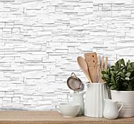 abordables -20x10 cm x 9 pcs blanc pierre brique stickers muraux rétro étanche à l'huile imperméable carrelage papier peint pour cuisine salle de bains sol mur maison décoration