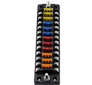abordables -Boîte de fusibles de voiture 12v one-in-one-out 32v fb1904 indépendamment du positif et du négatif (avec 24 fusibles) / ignifuge / résistant aux hautes et basses températures / double livraison