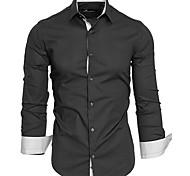 abordables -Homme Chemise Grandes Tailles Basique Manches Longues Quotidien Hauts Entreprise Blanche Noir Rouge