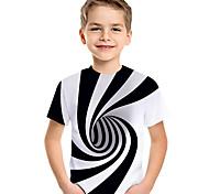 abordables -Enfants Bébé Garçon T-shirt Tee-shirts Manches Courtes Noir & Blanc Bloc de Couleur Géométrique 3D Imprimé Enfants Le Jour des enfants Hauts Actif basique Blanche