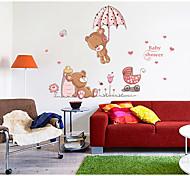 economico -simpatico due orsi ombrello decorazione della casa sfondo adesivo rimovibile 50 * 70 cm 50 * 70 cm