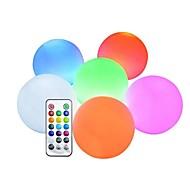 abordables -LED RGB piscine flottante lumières changement de couleur LED éclairage extérieur piscine balle avec télécommande IP65 étanche jouets de bain pour plage jardin étang décoration 1 pc 6 pcs