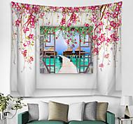 abordables -fenêtre paysage mur tapisserie art décor couverture rideau pique-nique nappe suspendu maison chambre salon dortoir décoration polyester mer océan plage romantique fleur pier
