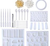 abordables -ensemble de moules en silicone bricolage argile résine époxy coulée et outils ensemble avec sac de rangement pour bijoux anneau boucle d'oreille pendentif 62 pcs / lot