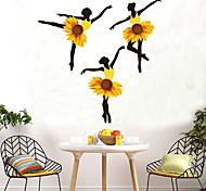 abordables -Tournesol fille stickers muraux bricolage danseur de ballet mural dortoir décalcomanies pour maison chambres d'enfants bébé chambre pépinière décoration