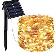 abordables -énergie solaire led guirlandes de fées 10m 20m ip65 lumières de vacances 100leds 200leds pour noël nouvel an guirlande décor éclairage blanc chaud