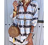 economico -Per donna Vestito a trapezio Mini abito corto Bianco Giallo Verde Azzurro Manica a 3/4 Con stampe Estate A V caldo Boho 2021 S M L XL XXL 3XL