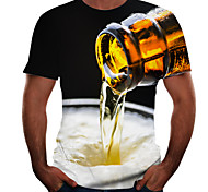 economico -Per uomo maglietta Pop art 3D Birra Taglie forti Manica corta Per uscire Top Essenziale Grigio scuro Nero Grigio