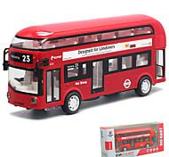 abordables -01h32 Petites Voiture Modèle de Voiture Autobus à impériale Musique et Lumière Véhicules à Friction Arrière Alliage de métal Mini jouets de véhicules de voiture pour cadeau de fête ou cadeau