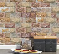 abordables -20x10cmx9 pcs brun pierre brique stickers muraux rétro étanche à l'huile imperméable carrelage papier peint pour cuisine salle de bains sol mur maison décoration