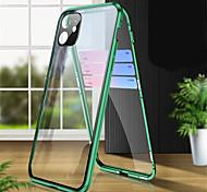 economico -telefono Custodia Per Apple Integrale Custodia ad adsorbimento magnetico iPhone 12 Pro Max 11 SE 2020 X XR XS Max 8 7 6 Transparente Doppia setola Protezione per obiettivo della fotocamera Tinta unita