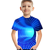 abordables -Enfants Garçon T-shirt Tee-shirts Manches Courtes Impression 3D Graphique Bloc de Couleur Casual Col ras du cou Enfants Hauts basique Chic de Rue Noir Bleu Vert 3-12 ans