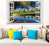abordables -Autocollants muraux de paysage salon, décalque de mur de décoration de maison amovible en pvc 60 * 40cm