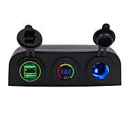 economico -Caricatore per auto 5v / tenda a 3 fori 4.2a con apertura dual usb blu rosso verde / ip65 / dc12 dc24v tensione universale / materiale di protezione ambientale