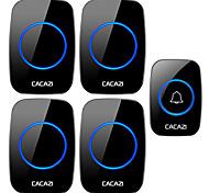 abordables -cacazi sonnette sans fil étanche 1 bouton 4 récepteur 300m télécommande led veilleuse appel cloche 0-110 db 60 carillons us ue uk au plug