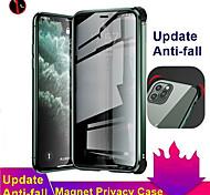 economico -telefono Custodia Per Apple Per retro Custodia ad adsorbimento magnetico iPhone 11 Pro Max iPhone SE 2020 Resistente agli urti Doppia setola Anti peep Tinta unita Vetro temperato Metallo