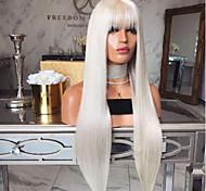 abordables -Perruque Synthétique Droit crépu Avec Frange Perruque Longue Blanc crème Cheveux Synthétiques 18 pouce Femme simple Design à la mode Homme Blanc