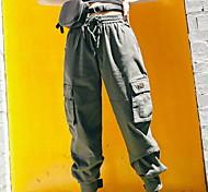 economico -Per donna Essenziale Moderno Casual Quotidiano Carico tattico Pantaloni Tinta unita A cordoncino Tasche Nero Verde militare