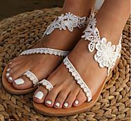 economico -Per donna Sandali Boho Piatto Occhio di pernice Sandali da sposa Matrimonio Quotidiano Spiaggia Di pizzo PU Di pizzo Bianco