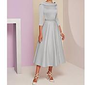 abordables -Trapèze Robe de Mère de Mariée  Grande Taille Elégant Rétro Vintage Bateau Neck Longueur Genou Satin Manches 3/4 avec Billes 2021