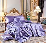 economico -Set copripiumino in tessuto di seta imitato a 4 pezzi, set di biancheria da letto in raso di lusso include 1 copripiumino, 1 lenzuolo piatto, 2 fodere