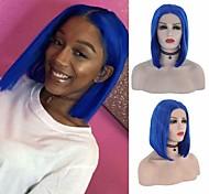 abordables -Perruque avant en dentelle synthétique Droit soyeux Partie médiane Dentelle sur le devant Perruque Court Bleu Roi Cheveux Synthétiques 8-16 pouce Femme Doux Résistant à la chaleur Synthétique Bleu