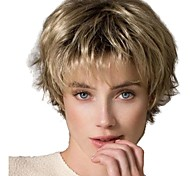 abordables -Perruque Synthétique Droit crépu Coupe Lutin Perruque Court Or clair Cheveux Synthétiques 12 pouce Femme Vie Classique Homme Blond