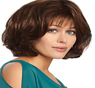 abordables -Perruque Synthétique Droit crépu Avec Frange Perruque Court Brun claire Cheveux Synthétiques 12 pouce Femme simple Vie Classique Marron clair