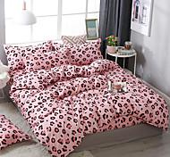 abordables -belle jeune fille vent imprimé léopard motif literie quatre pièces housse de couette drap de lit taie d'oreiller dortoir simple double