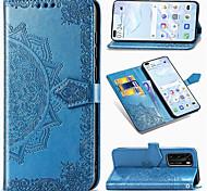 economico -telefono Custodia Per Huawei Integrale Custodia in pelle Porta carte di credito HUAWEI P40 HUAWEI P40 Pro P40 lite A portafoglio Porta-carte di credito Con supporto Fiore decorativo pelle sintetica